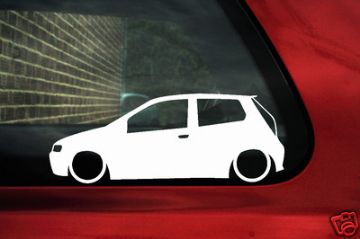 2x LOW Fiat Punto Mk2 (3 door) 16v, JTD 3 door car,outline,silhouette stickers / Decals